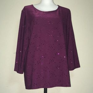 Women's JM Collection Purple Sequin Top